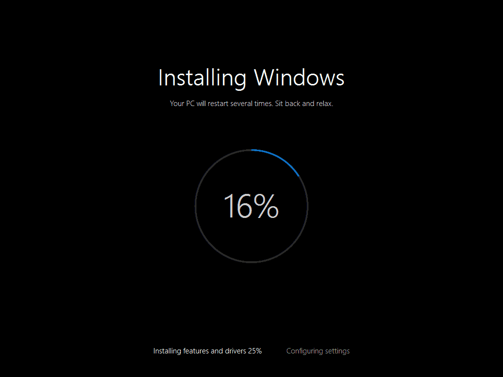 Windwos 10 installation process